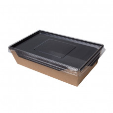 Контейнер бумажный с пластиковой крышкой 900 мл 150х150х50 мм черный (200)