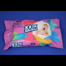 Салфетки влажные 100% чистоты детские в ассортименте 63  шт. (22)