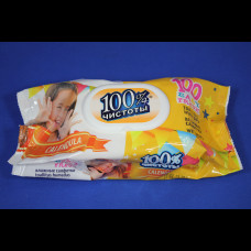 Салфетки влажные 100% чистоты детские с клапаном в ассортименте 100 шт.