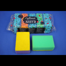 Губка для посуды 5 шт Мега 10х6,5х4 см (15уп/кор) КонтинентПак