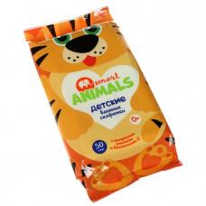 Салфетка влажная 50 шт Smart animals детские с ромашкой и витамином Е mix