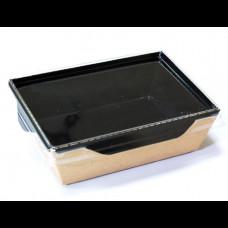 Контейнер бумажный с пластиковой крышкой 350 мл 121х106х55 мм черный