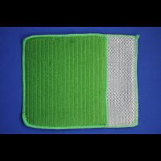 Салфетка 3 в 1 (микрофибра+губка+скраб) 16х19 зелёный
