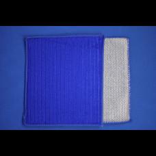 Салфетка 3 в 1 (микрофибра+губка+скраб) 16х19 синий