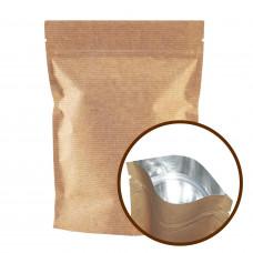 Пакет Дой-пак 140х240 (40+40) крафт с зип-локом БОПП метал
