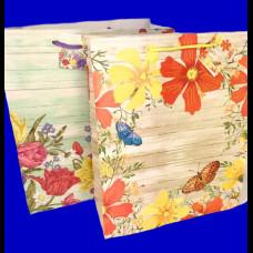 Пакет 20х25х10 крафт Цветы микс