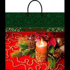 Сумка 38х35 Новогоднее убранство пласт. ручка 90 мк ламинат Интерпак