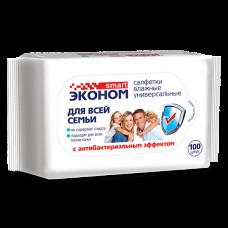 Салфетка влажная 100 шт Эконом smart с антибактериальным эффектом