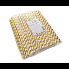Бумажные трубочки 8х240 250 шт золотые полосы КонтинентПак