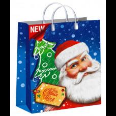 Сумка 30х40 Дед Мороз с усами 150 мк пластиковая мягкая ламинат Интерпак