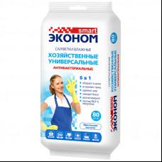Салфетка влажная 80 шт Эконом smart хозяйственные антибактериальные 6 в 1