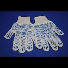 Перчатки ХБ с ПВХ 4 нити 10 класс точка (250пар)