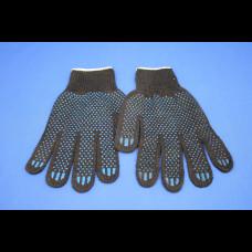 Перчатки ХБ с ПВХ 4 нити 10 класс точка черные (250пар)