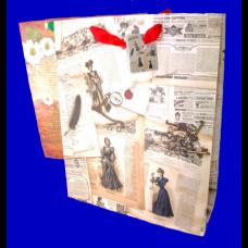 Пакет 32х40х12,5 матовый Газета микс