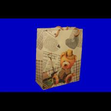 Пакет 18х23х10 крафт Медведи микс