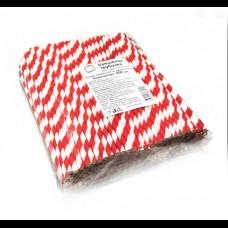 Бумажные трубочки 8х240 250 шт бело-красные полосы КонтинентПак