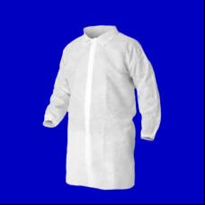 Халат посетителя белый на кнопке, рукав на резинке XL (100)