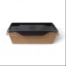 Контейнер бумажный с пластиковой крышкой 400 мл 145х95х45 мм черный
