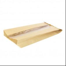 Пакет бумажный с окном 140х90х240(80) ВПМ 40 гр беж.